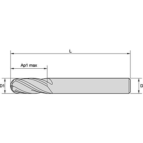 Straight Shank 0.3 mm Chamfer Carbide 4-Flute WIDIA Hanita D0041600T022 VariMill D004 GP Rough//Finish End Mill RH Cut TiAlN 16 mm Cutting Dia