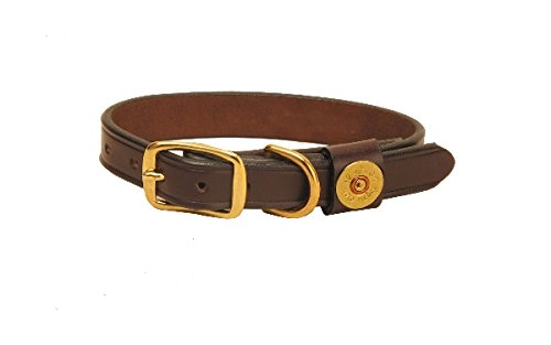 Tory Leather Shot Shell Dog Collar - Havana