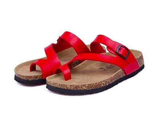 OTOSU Women's Toe Ring Slides Flip Flops Clip Toe Beach Cork Slipper Metal Buckle Strappy Flat Thong Shoes