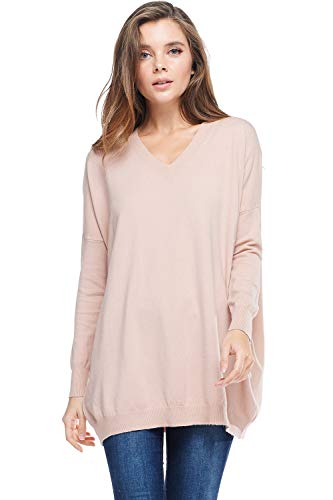 Alexander + David Womens Basic Oversized V-Neck Sweater Pullover Tunic Top (Dust Pink, Small/Medium)