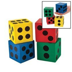 Foam Playing Dice (Game/Play Foam Jumbo Playing Dice (12) Kid/Child by)
