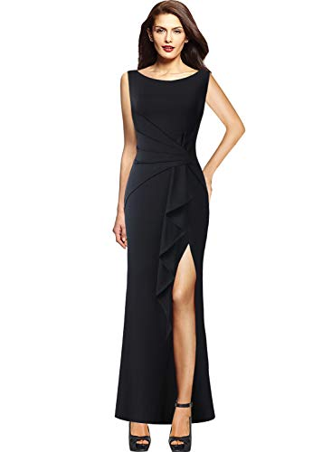 VFSHOW Womens Ruched Ruffles High Split Formal Wedding Party Maxi Dress 140 BLK L (Slim Gown Prom)