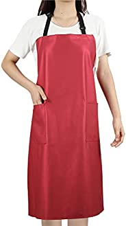 Waterproof Rubber Vinyl Apron with 2 Pockets - Chemical Resistant Work Cloth - Adjustable Bib Butcher Apron -
