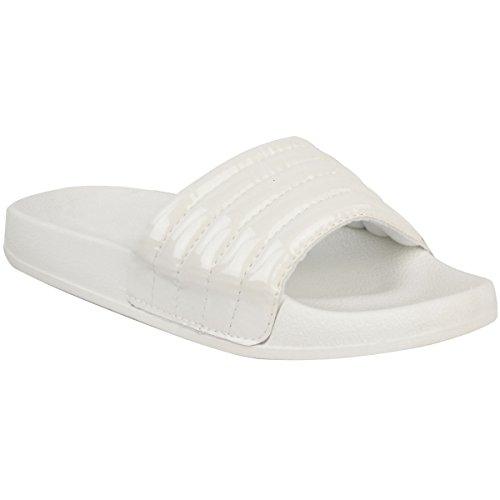 Mode Assoiffé Womens Confortable Brillant Matelassé En Caoutchouc Piscine Sliders Appartements Chaussures Pantoufle Taille Blanc