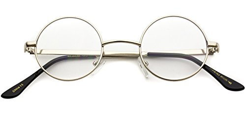 Costume Small Glasses Round (Round Clear Metal Frame Glasses (Silver Frame,)