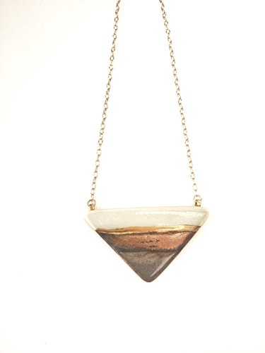 porcelain large triangle pendant necklace in gold glaze and 22k gold accent ()