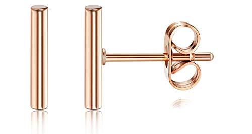 Minimalist 14k Rose Gold Tiny Stud Bar Earrings Line Earrings Simplify Stick Earrings (rose-gold)
