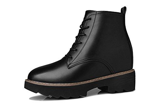 Youxuan Women's Winter Walking Short Booties Slip Resistant Girls Platform Flats Snow Boots Black 5.5M US by Youxuan (Image #1)
