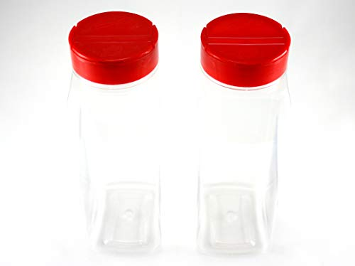 Skyway Supreme Large 32 OZ Clear Plastic Spice Bottles Jars Containers - Set of 2 - Flap Cap Pour and Sifter Shaker Durable Refillable Perfect For Storing and Dispensing Herbs and Spices - BPA Free