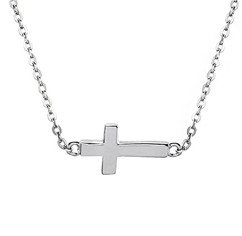 Silver Sideways PETITE Cross Pendant Necklace .925 Sterling Silver Religious Women's Charm Jewelry Box