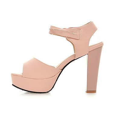 LvYuan Mujer Sandalias Zapatos formales Semicuero Primavera Verano Vestido Fiesta y Noche Zapatos formales Tacón Robusto Blanco Azul Rosa12 cms White