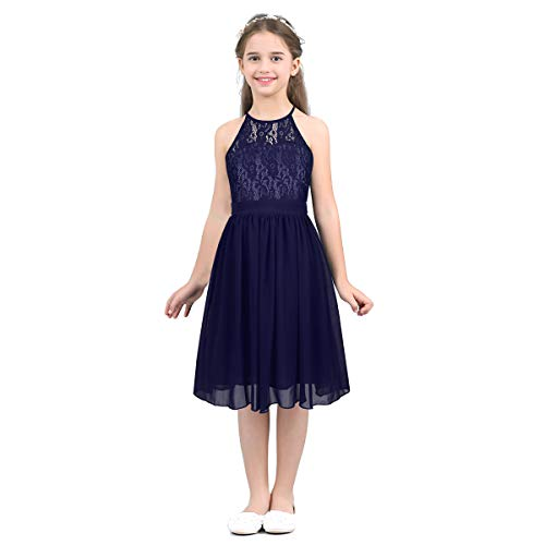 MSemis Girls' Princess Halter Neck Floor-Length Lace Chiffon A-Line Junior Bridesmaid Dress Navy Blue Knee Length 6