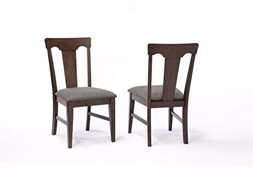 Wood Dining Chair with Linen Upholstery - Dining Chair with Queen Anne Back - Set of 2 - Black Oak