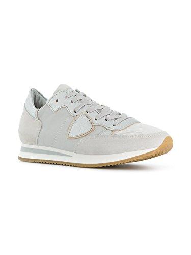 Philippe Model Damen TRLDW003 Silber/Weiss Wildleder Sneakers