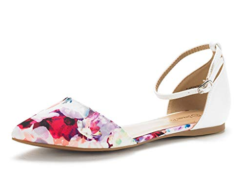 Womens New Flat - DREAM PAIRS Women's Flapointed-New Floral White D'Orsay Ballet Flats Shoes - 8.5 M US