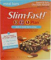 Slim-Fast 3-2-1 Bars plan de repas sucré et salé chocolat aux amandes - 5 bars