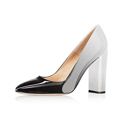 Fericzot Pumps Women Sexy Patent Leather Pointed Toe Block Heels Pumps Gorgeous Evening Party Wedding Stiletto Shoes Plus Size Silver Black 8M