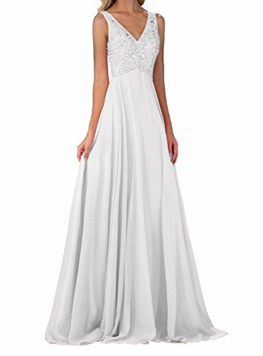 Abendkleider Charmant V Abschlussballkleider Promkleider Weiß Neu Langes Damen Partykleider mit Chiffon ausschnitt H7tS1q
