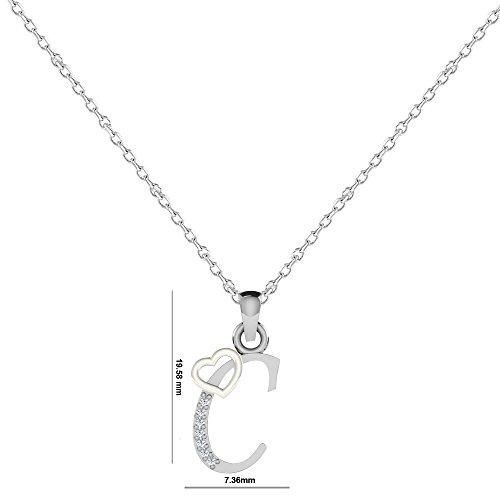 "Libertini Pendentif argent 925 serti de Diamant en forme de ""C"" Alphabet"