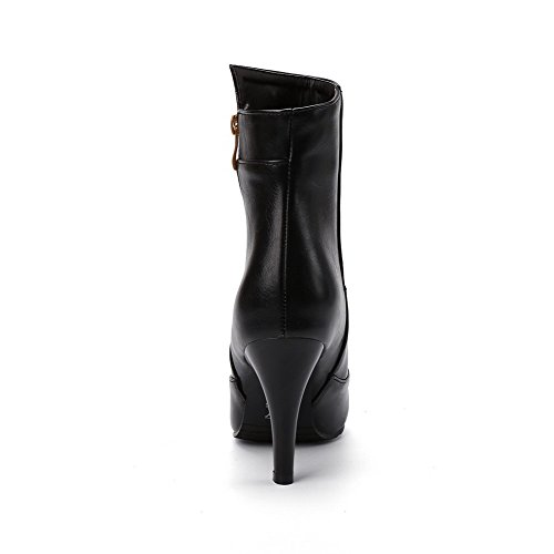 AllhqFashion Damen Spitz Zehe Hoher Absatz Blend-Materialien Niedrig-Spitze Rein Stiefel Schwarz