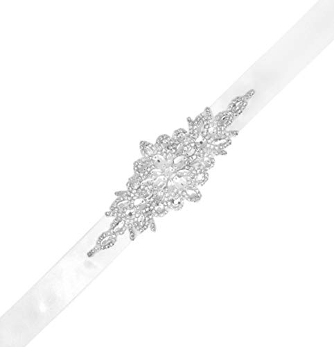 (Mandala Crafts Bridal Sash Belt with Crystal Rhinestone Satin Ribbon for Wedding Gowns, Prom, Formal Dresses for Women, Jeweled and Beaded (Plain Rhinestone, White))