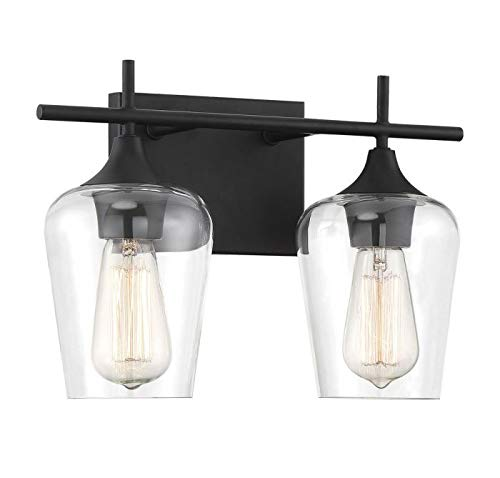 """Savoy House 8-4030-2-BK Octave 2-Light Bathroom Vanity Light in a Black Finish with Clear Glass (14"""" W x 9"""" H) - Applications: Perfect For Use In Bathrooms And Over Vanities. Adds Charm To Any Interior Versatile: LED/CFL/Incandescent Compatible, Holds Two 60 Watt E26 Base BULbs (Not Included) Install Your Way: This Versatile Fixture Can Be Installed Either With Bulbs Pointing Up Or Down - bathroom-lights, bathroom-fixtures-hardware, bathroom - 31OCHYERBUL -"""