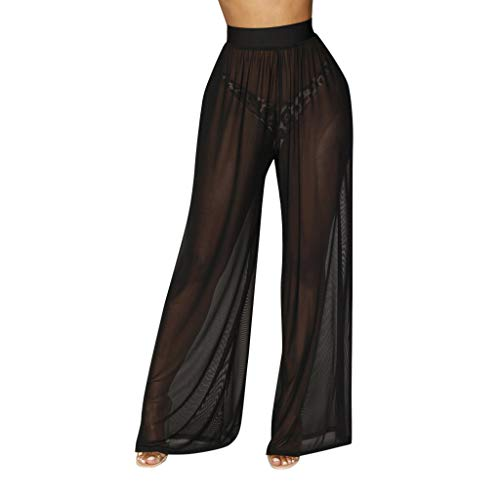 JOFOW Wide Leg Pants for Women See Through Yarn Swing Extra Long Trousers Loose Light High Waist Sexy Beach Party Outfit (L,Black)