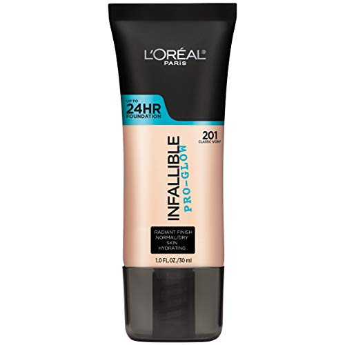 L'Oréal Paris Makeup Infallible Pro-Glow Foundation, 201 Classic Ivory, 1 Ounce (Best Foundation For Dewy Finish)