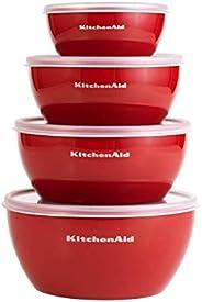 Tigelas de preparação clássicas KitchenAid com tampas, conjunto de 4, Empire Red