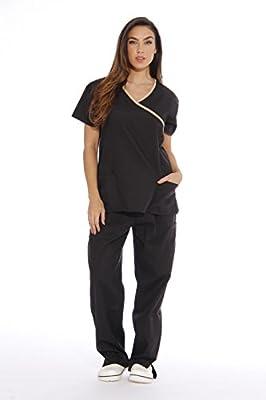 Just Love Women's Scrub Sets/5 Pocket Medical Scrubs Uniforms (Mock Wrap), Black With Sand Trim, Medium