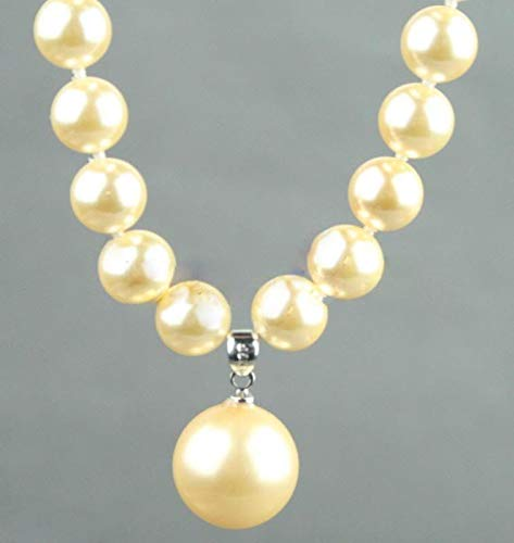 (FidgetKute Fashion 8mm&14mm Natural Yellow South Sea Shell Pearl Pendant Necklace 18'' AAA)