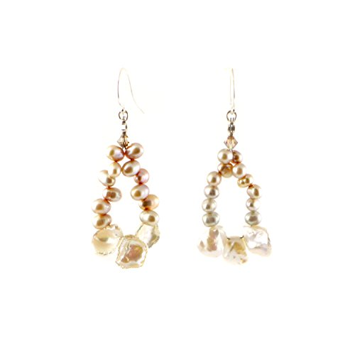 Pearl Beaded Hoop Earrings with Peach Freshwater Pearls and Keishi Pearls | Unique Pearl Earrings | Pearl Hoop Earrings