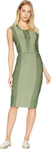 BCBGMAXAZRIA Women's Safari Fitted Dress Earth Green Combo ()