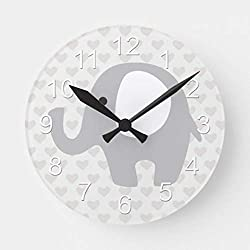 Moonluna Gorgeous Baby Elephant in Neutral Gray Wall Clocks Large Decorative Wooden Quartz Silent Clock 16 Inches Home Clock Gifts for Women