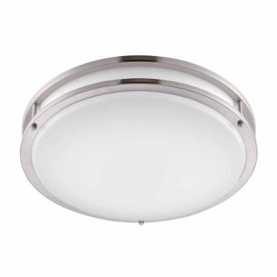 Hampton bay flaxmere round flush mount brushed nickel finish with frosted glass diffuser