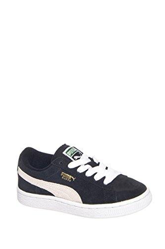 PUMA Suede Junior Sneaker  , Black/White, 13.5 M US Little K