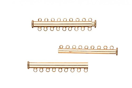 9-Strand Tube Slide Lock Jewelry Clasp-Gold Finished 10x5mm 3pcs