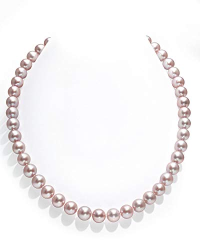 THE PEARL SOURCE 14K Gold 9-10mm AAA Quality Pink Freshwater Cultured Pearl Necklace for Women in 51