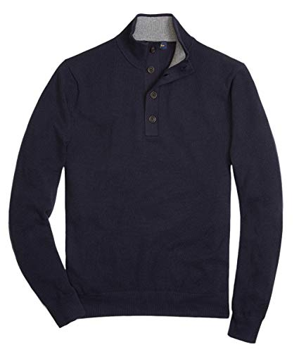 Brooks Brothers Men's Cotton & Cashmere Button Mock Neck Sweater, Navy (S)