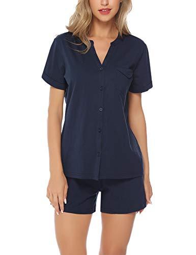 Hawiton Women's Cotton Shorts Pajama Set Short Sleeve V-Neck Button Front Sleepwear Blue