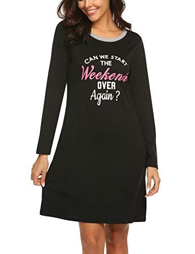 (HOTOUCH Women's Long Sleeve Sleepshirt Printed Scoop Neck Sleep Tee Nightgown Black L)