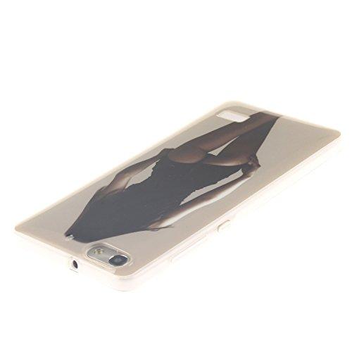 Huawei honor 4C Funda,Ligero a Prueba de Choques Flexible Ultra Fino Suave TPU Parachoque Carcasa MAGQI Tecnología IMD Diseño Impreso Vendimia Serie Patrón [Absorción de Impacto] Resistente a los Arañ Sexy Lady