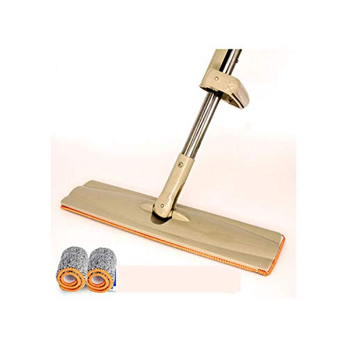 (No Hand Washing Double-sided Lazy Microfiber 40cm Flat Mop Sper Magic Swob Floor Rotate Rub Wood Mops Entrusted Mop Cloth,total 2 cloths,Russian Federation)