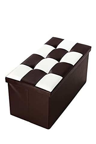 Faux, Folding, Leather, Storage Ottoman / Foot Rest With Checkered Design 30 x 15 x 15 Inches, Brown and White