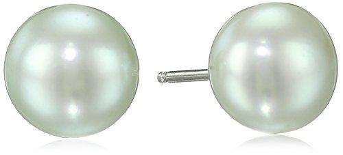 Green Freshwater Pearl Earrings - Honora Sterling Silver Mint Button Freshwater Cultured Pearl Stud Earrings