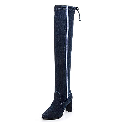 bluee Stripes Cowboy Stretch high Boots high Heel Over The Knee Thick Pointed Martin Boots Female Autumn Winter