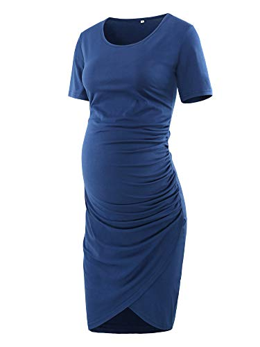 Dress Hem Tulip Navy - Love2Mi Women Short Sleeve Maternity Tulip Midi Dress Crew Neck Wrap Hem Fitted Dress Navy