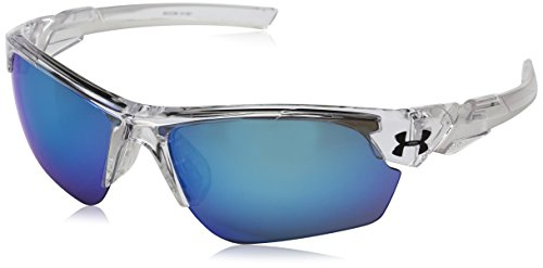 Under Armour UA Windup Wrap Sunglasses, UA Windup Crystal Clear / Frosted Clear Frame / Gray / Blue Multiflection Lens, 58 - Sunglasses Players For Baseball