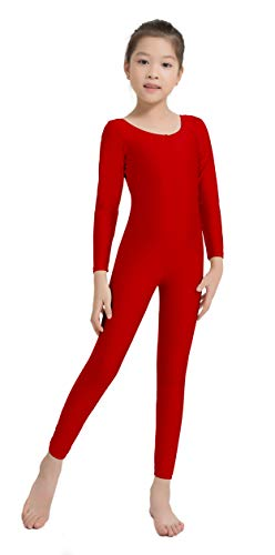 Speerise Girls Kids Long Sleeve Spandex One Piece Dance Unitard, Red, 6X-7