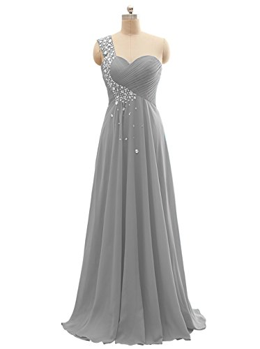 Beaded Ruched Bodice (Women's One-Shoulder Beaded Chiffon Long Bridesmaid Dress Formal Evening Gown Ruched Bodice Size 12 Gray)